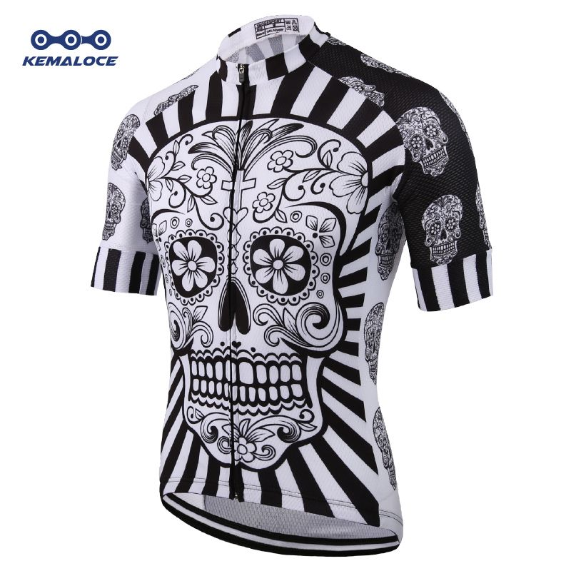 White Skull Sublimation Printing Cycling Jersey Best 2019 Pro Polyester Bike Wear Summer Men <font><b>Quick</b></font> Dry Cycling Top Bicycle Shirt