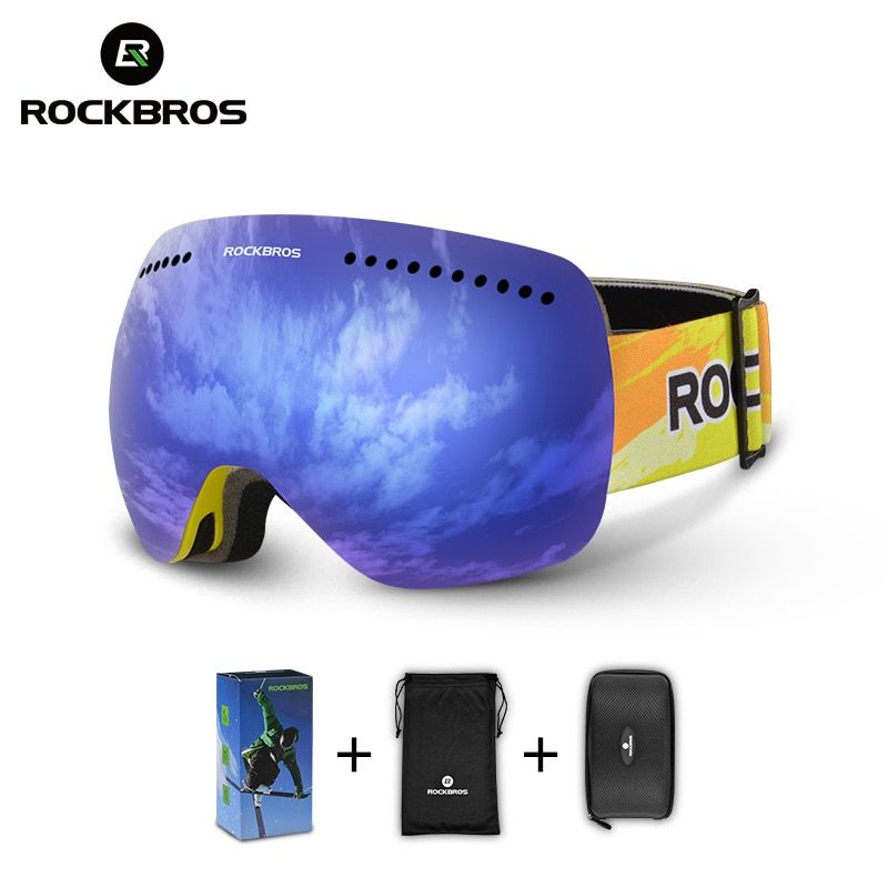 ROCKBROS Ski Goggles Glasses Double Layers Windproof Skiing Anti-fog UV400 Snowboarding Spectacles For Men Women Big Mask Snow