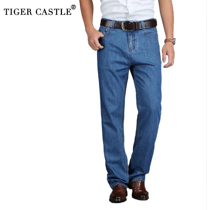 TIGER CASTLE 100% coton été hommes classique bleu Jeans droit Long Denim pantalon moyen homme qualité Jeans légers
