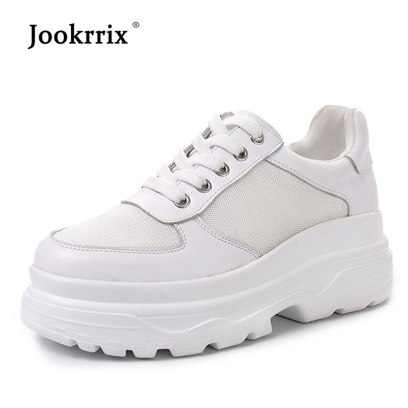 Jookrrix 2018 Autumn Fashion Real Leather Lady Casual White Shoes Women Sneaker Black Leisure Thick Soled Shoes Flats Cross-tied