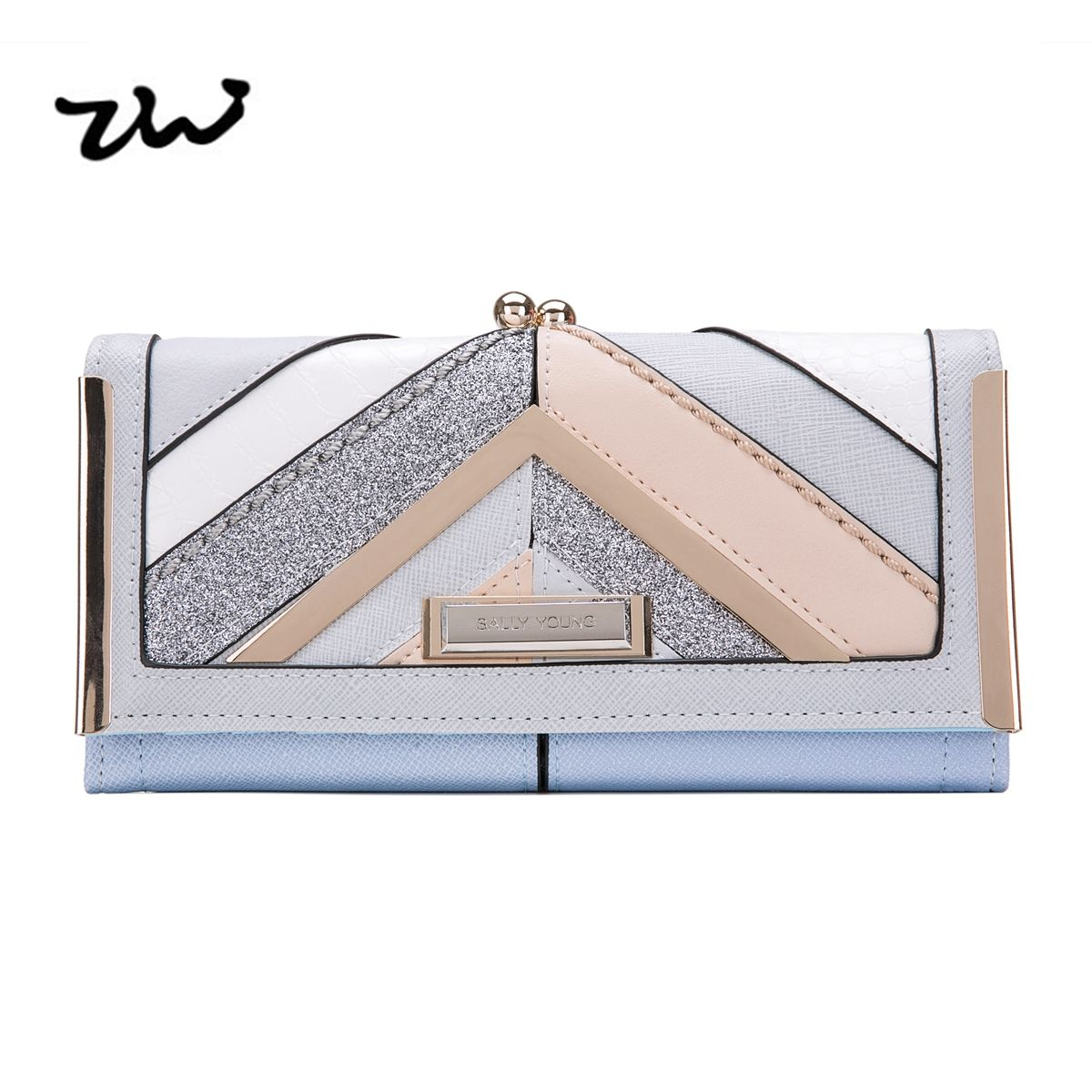 ZIWI 2017 New Women Wallets For Credit Cards Soft Pu Leather Fashion Long Coin Purses Holders Splicing Color Pattern SY5024