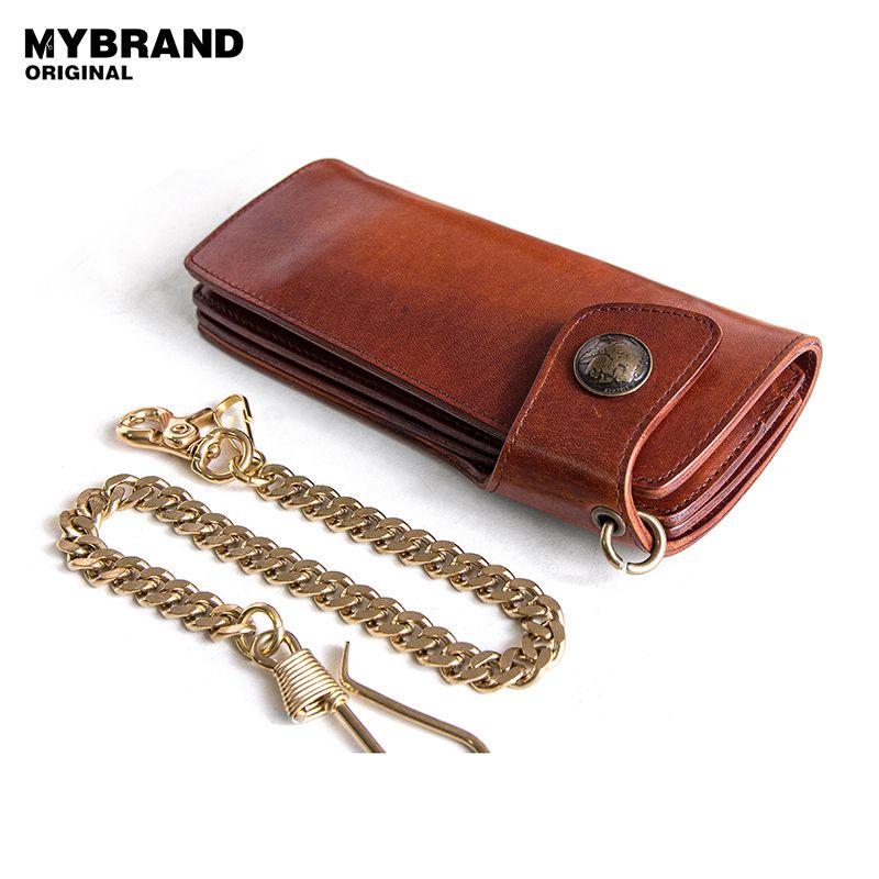 Mybrandoriginal largo billetera de cuero de vaca para los hombres vintage Cuero auténtico cadena de metal monedero con monedero antirrobo cadena q53