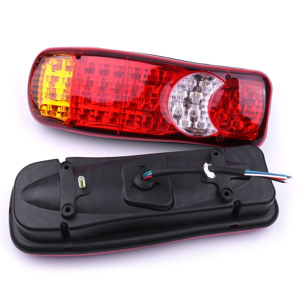 1 Pair 24V Truck Tail Lights Stop Reverse Rear Indicator LED Lights Fog Lamp for Car Truck Taillight 35x11x7cm Red Yellow White