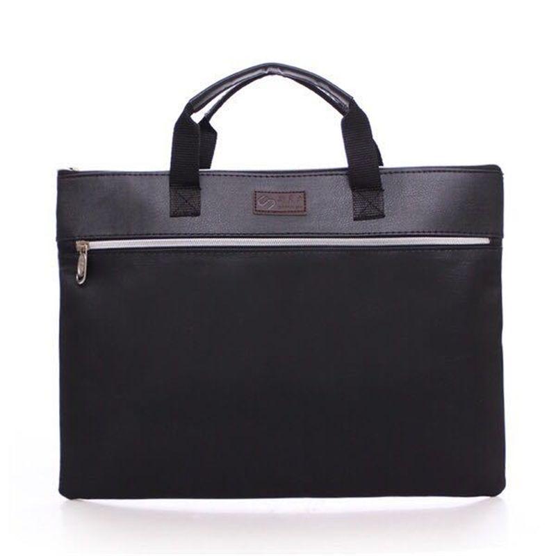 A4 искусственная кожа Tote Папки и файлы Роскошные Бизнес Документ сумка подачи Конференц-зал сумочку на молнии Слои Pocket Office Портфели поставки