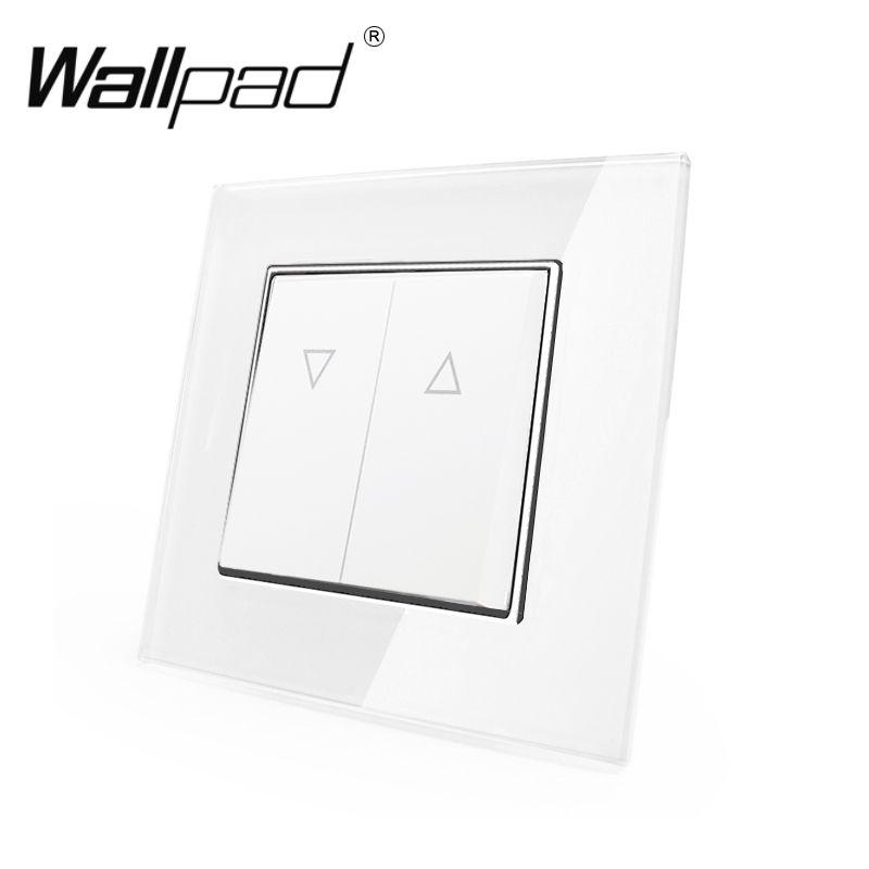 2 bouton rideau interrupteur Wallpad 110-250V blanc luxe verre EU Style européen réinitialiser rideau fenêtre aveugle interrupteur avec griffes arrière
