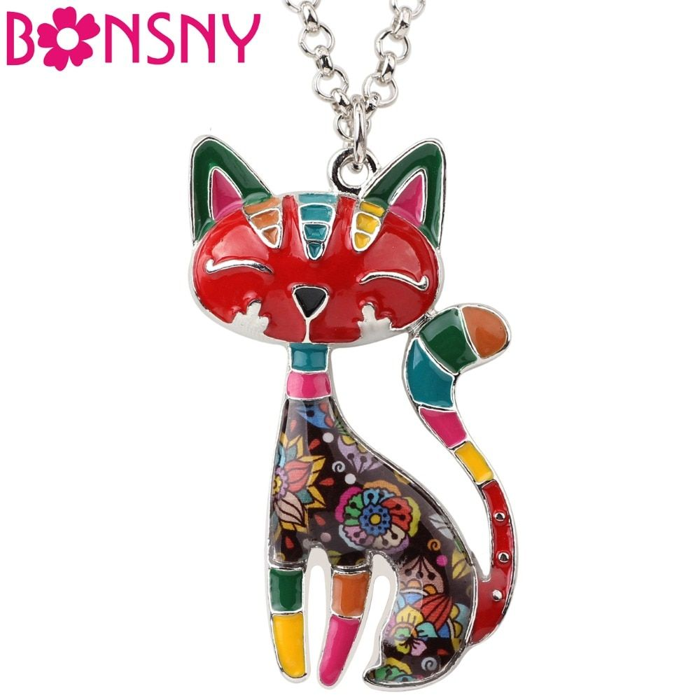 Bonsny Statement Maxi Enamel Cat Necklaces Jewelry  Pendants Choker Chain Collar Pendant 2017 New For Women Bijoux Accessories