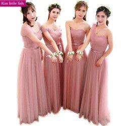 Gratis Pengiriman Baru Baru Pink Tua Panjang Gaun Pengiring Pengantin Gaun untuk Pesta Pernikahan Memiliki Sampanye Warna