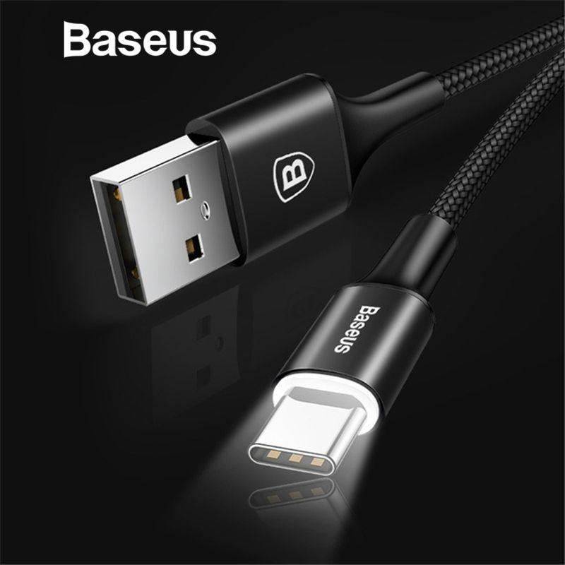 Baseus USB Typ C Kabel für xiaomi redmi note 7 USB-C Kabel für Samsung Galaxy S9 S8 Plus Lade mit Beleuchtung Typ -C Kabel