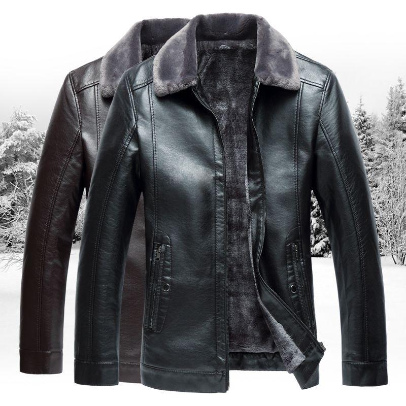 2017 Winter herren Lederjacke, mode herren Business Jacken, große Größe Solide drehen-unten Kragen leder Warme L-7XL Schwarz Braun