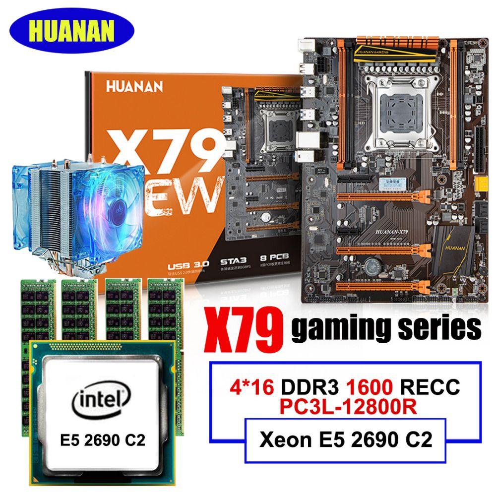 Computer building solution HUANAN deluxe X79 LGA2011 gaming motherboard Xeon E5 2690 C2 cooler RAM 64G DDR3 1600MHz RECC