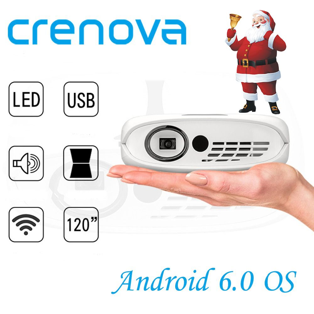 CRENOVA DLP Projector For Full HD 1080P With WIFI Android 6.0 OS Home Theater Movie Portable LED Projector With Battery Beamer