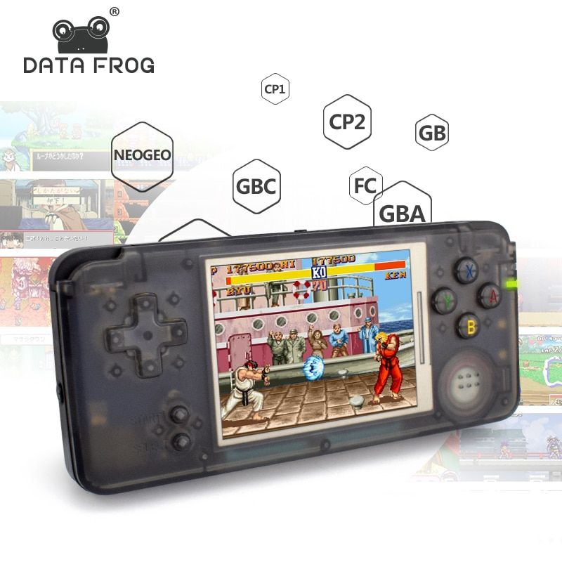 Data Frog Retro Handheld Game Console 3.0 Inch Console Built-in 3000 Classic Games Support For NEOGEO/GBC/FC/CP1/CP2/GB/GBA