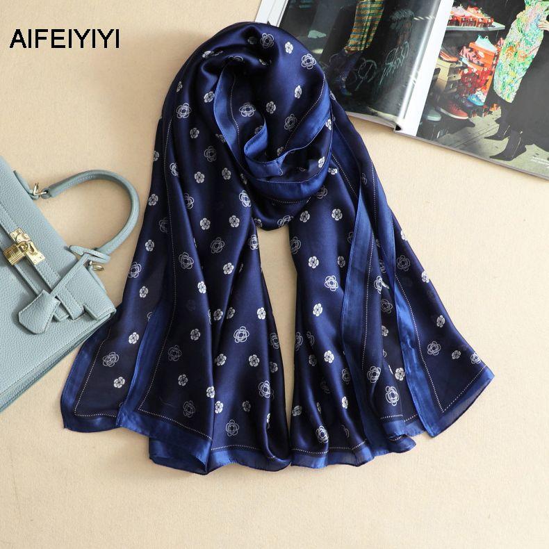 Fashion new scarf artificial silk flower print scarves female shawl wild thin summer sunscreen scarves
