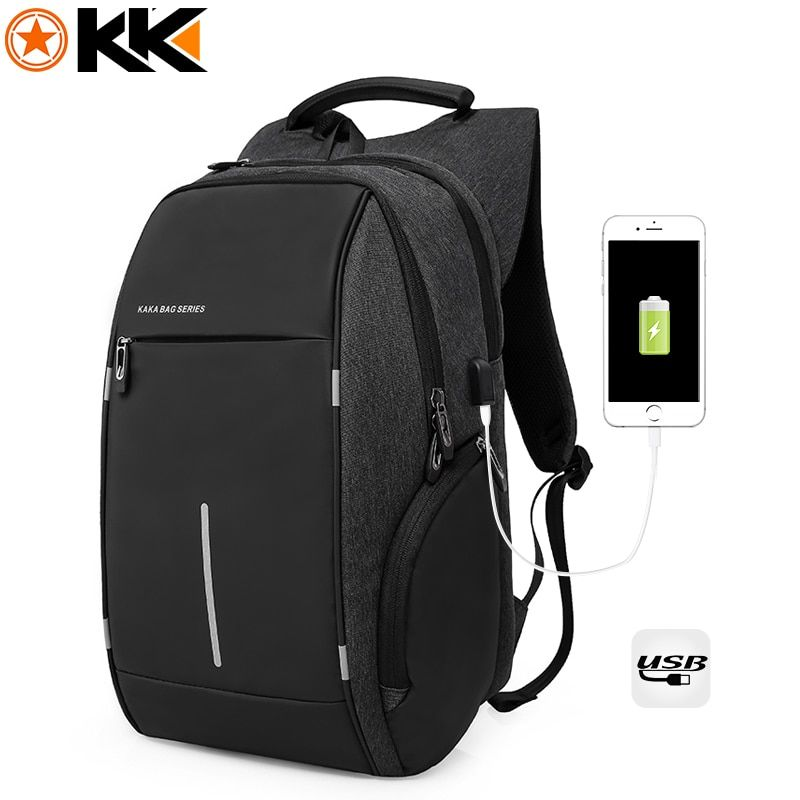 KAKA Brand Fashion USB Charging Men Backpack 15 inch Laptop Bag Backpack Male Nylon Waterproof Black Schoolbag Backpack mochila