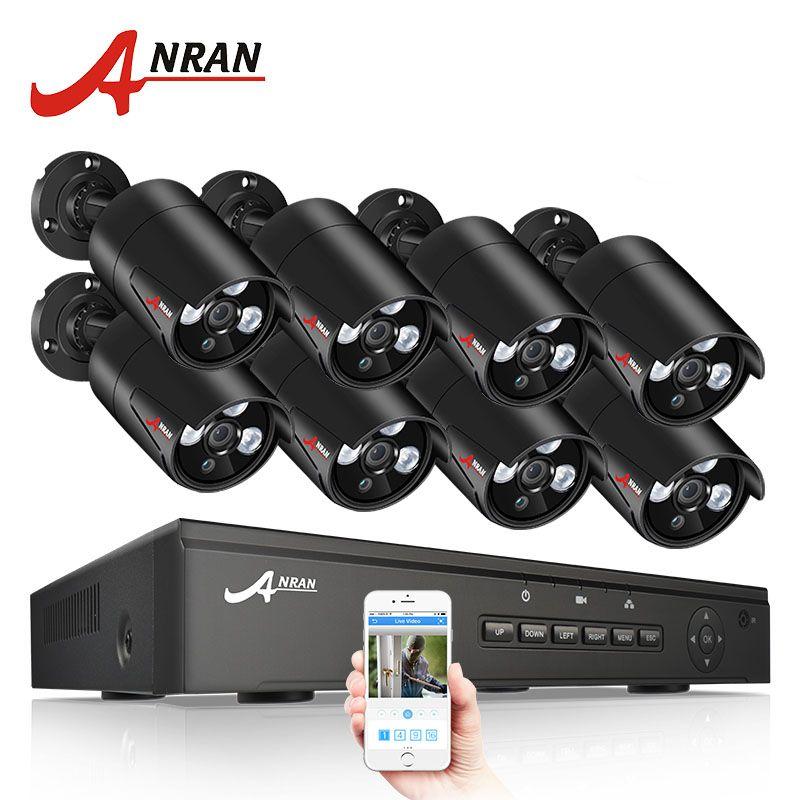 ANRAN 8CH CCTV Camera System 48V POE NVR Kit Onvif 1080P 2.0MP HD POE IP Camera Waterproof Night Vision Security Camera System