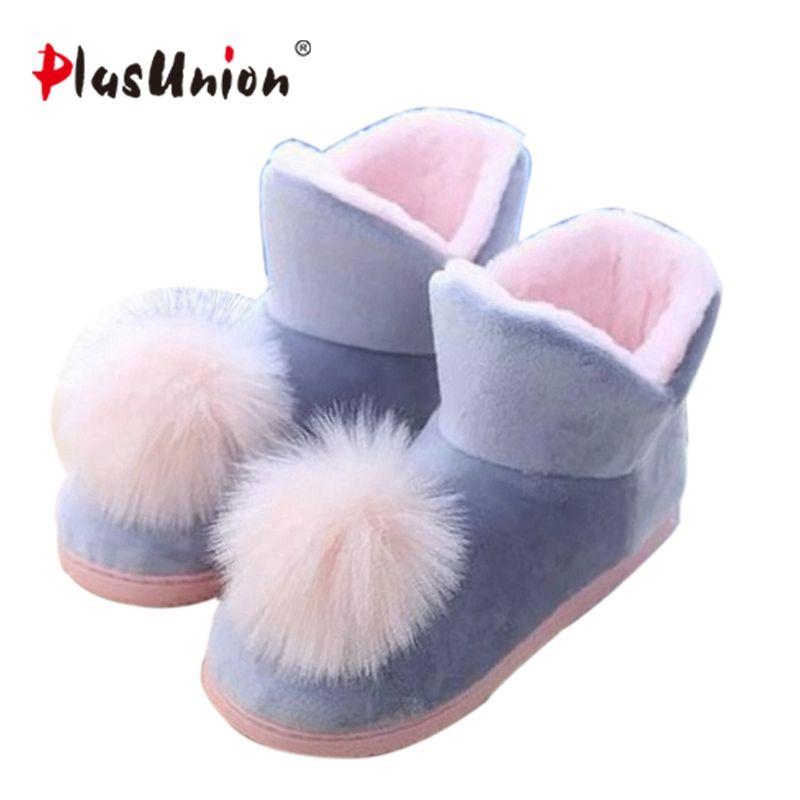 Belles Dames Cristal En Peluche Rose Maison Pantoufles Chaud Étage Balle véritable Cony Cheveux Boules Internes Femmes Coton Chaussures D'hiver Latex coudre