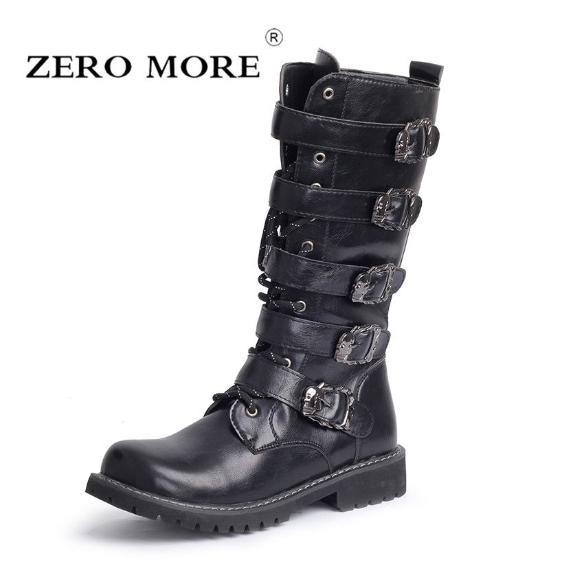 ZERO MORE <font><b>Army</b></font> Boots Men High Military Combat Boots Metal Buckle Punk Mid Calf Male Motorcycle Boots Lace Up Men's Shoes Rock