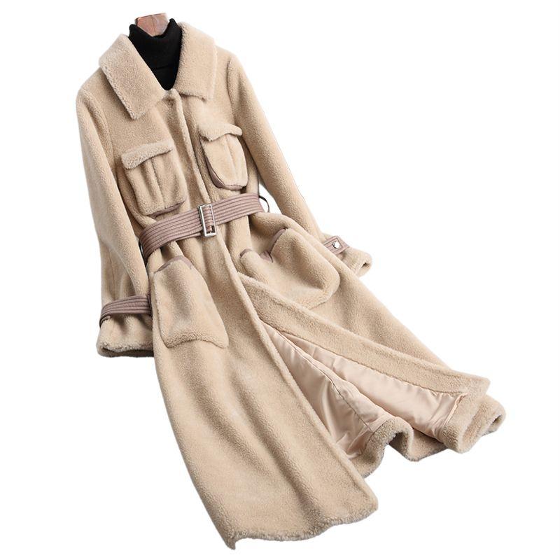 Wool Jacket Real Fur Coat Autumn Winter Coat Women Clothes 2018 Korean Sheep Shearling Fur Slim Long Coats Abrigo Mujer ZT889