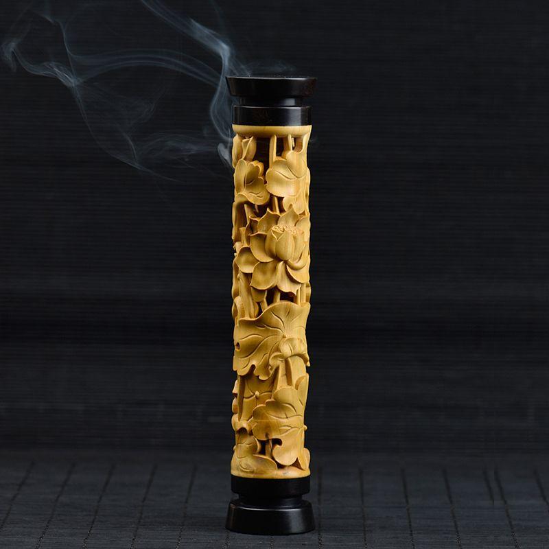 PINNY Lotus Wooden Incense Burner Stick Incense Holder Smell Removing wood burner furnace Buddhist Censer Wood Craft Living Room