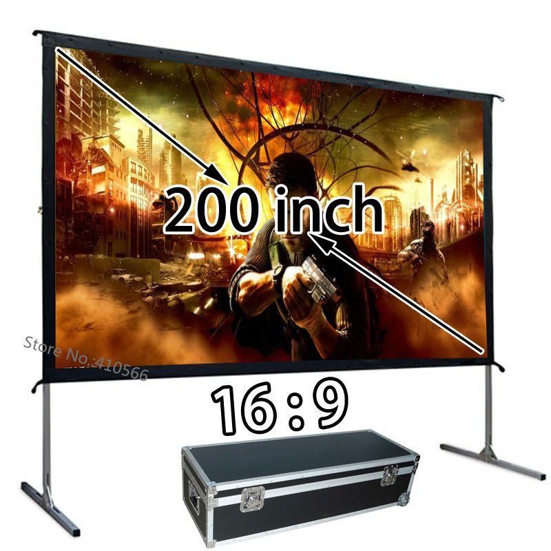 Großhandel Günstige Kosten HD Projektor Projektion Bildschirm 200 zoll 16:9 Schnell Installieren Außen Leinwände Verwenden Für Schulkonferenz