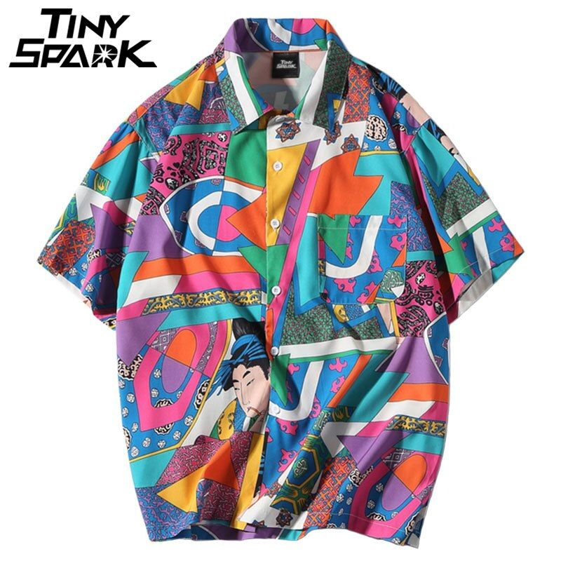 Men Loose Hip Hop Shirt Harajuku <font><b>Japanese</b></font> Ukiyo E Anime Shirt Short Sleeve Top Hawaiian Shirt Casual Streetwear Thin Summer 2018