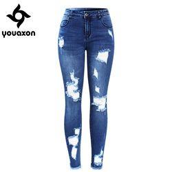 2127 Youaxon Nouveau Ultra Extensible Bleu Tassel Ripped Jeans Femme Denim Pantalon Pantalons Pour Femmes Crayon Maigre Jeans