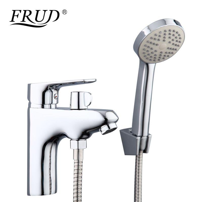 Frud 1set bathroom fixture Zinc alloy faucets with hand shower head toilet water basin sink tap bath sink faucet water mixer