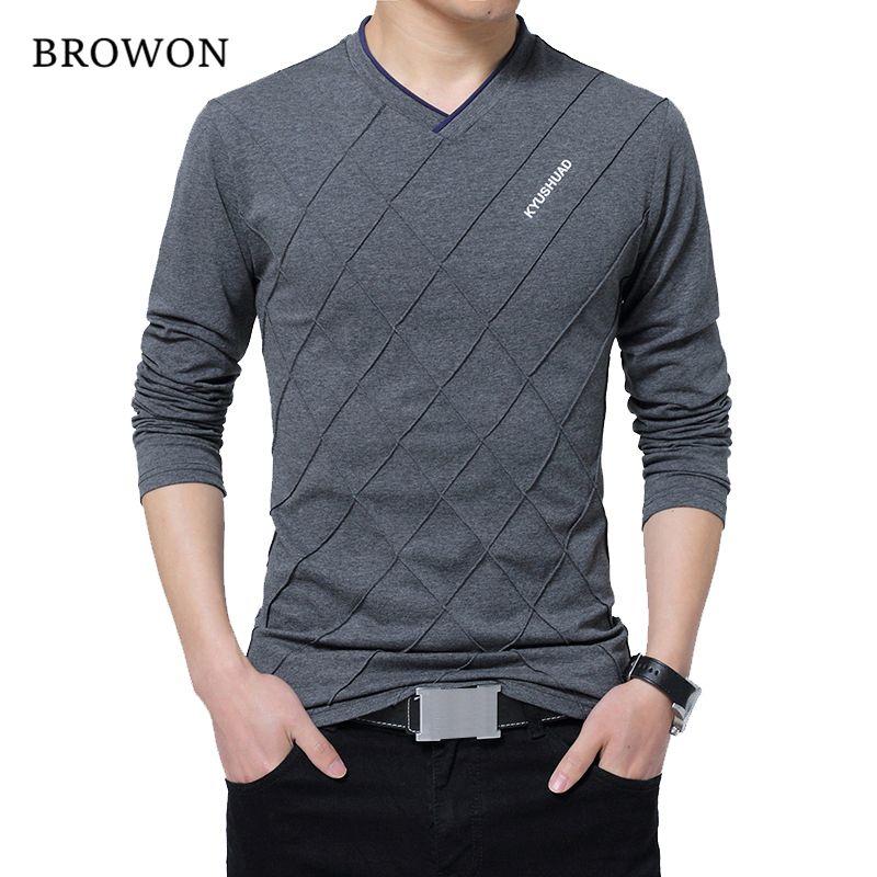 BROWON 2017 Fashion Men T-shirt Slim Fit Custom T-shirt Crease Design Long Stylish Luxury V Neck Fitness T-shirt Tee Shirt <font><b>Homme</b></font>