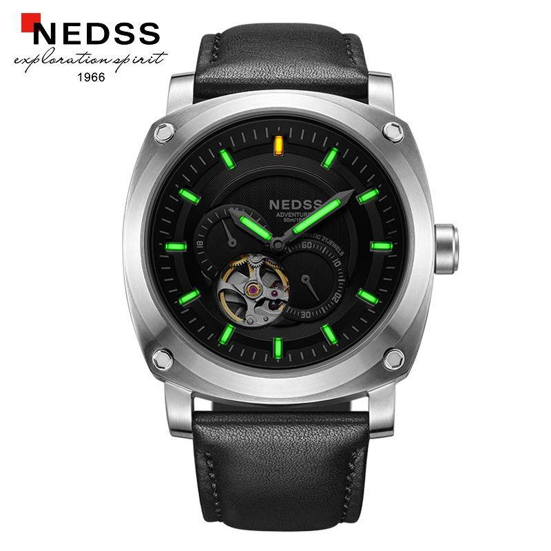 Mens relojes de primeras marcas de lujo NEDSS Gas Tritio Luminoso Reloj de Los Hombres A Prueba de agua Reloj automático Hombres de Acero Completo relojes Militares