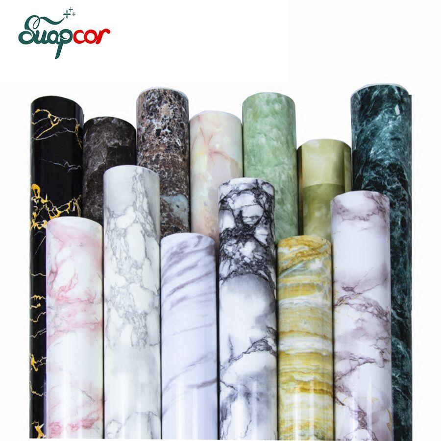 Classique marbre décoratif Film PVC auto-adhésif papier peint salle de bains étanche autocollants salon TV fond Stickers muraux