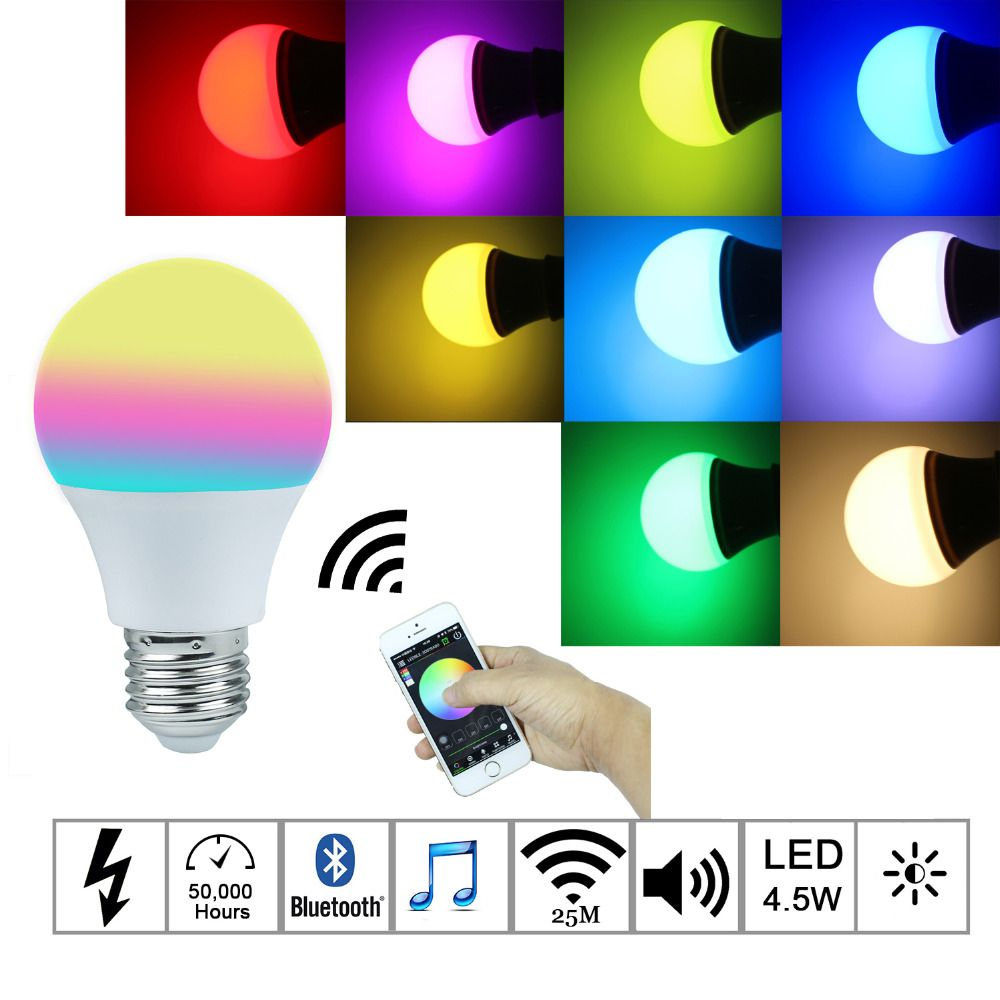 2016New Magic Blue 4.5W E27 <font><b>RGBW</b></font> led light bulb Bluetooth 4.0 smart lighting lamp color change dimmable AC85-265V for home hotel