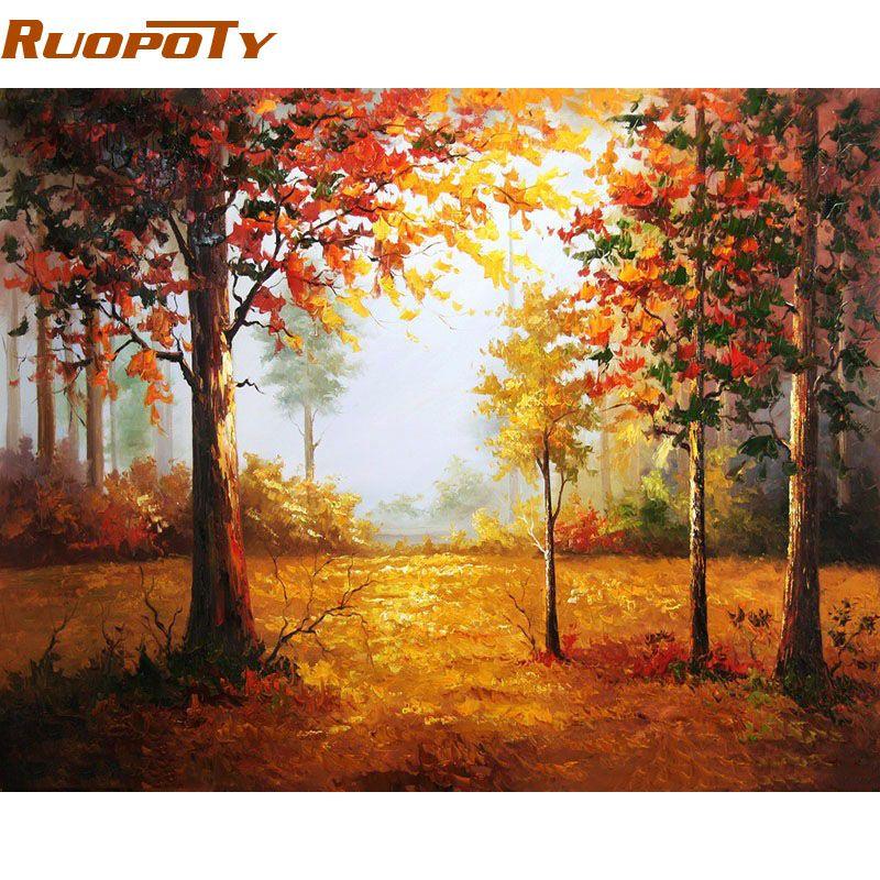 RUOPOTY cadre automne paysage peinture à la main par numéros peint à la main mur Art photo Unique cadeau décor à la maison pour œuvre d'art 40x50 cm