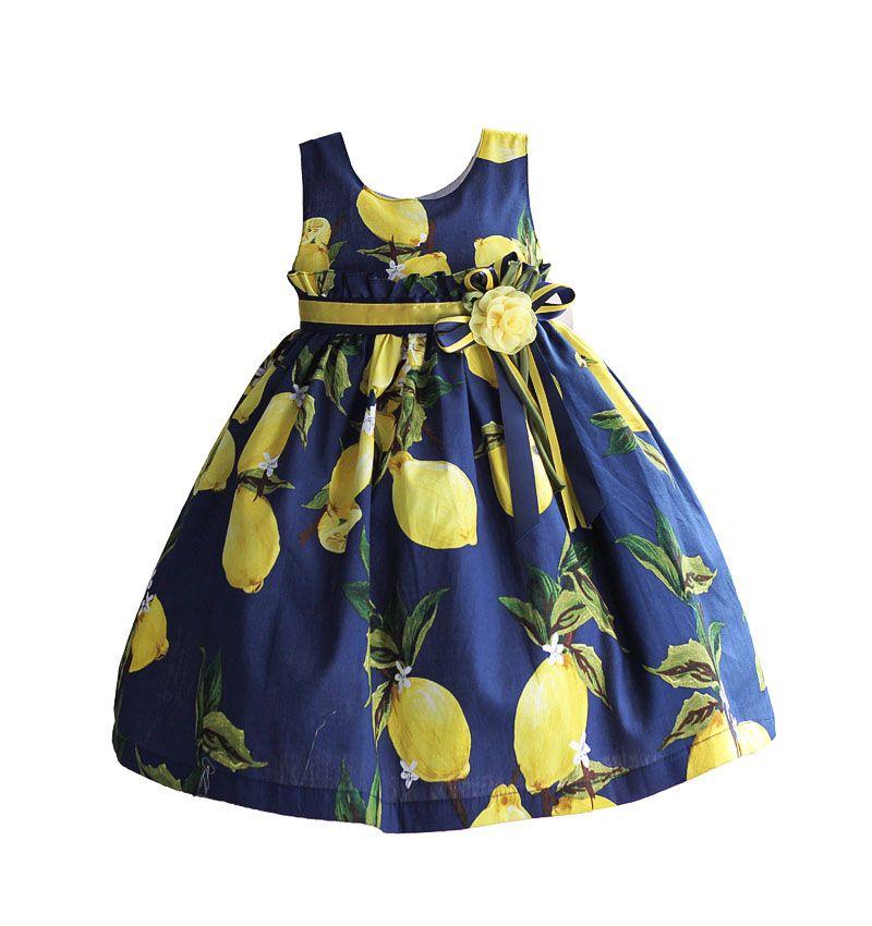 Mode filles robe lemon modèle de ruche ceinture enfants bébé robe jaune fleur avec poly ruban arc 3-8 t roupas infantis menina
