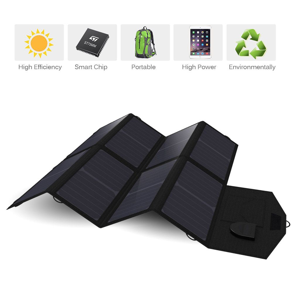 Solar Panel 40W 5V 12V 18V Portable Foldable Solar Panel Charger for iPhone iPad Macbook Cell Phone Car Battery Camping Outdoor