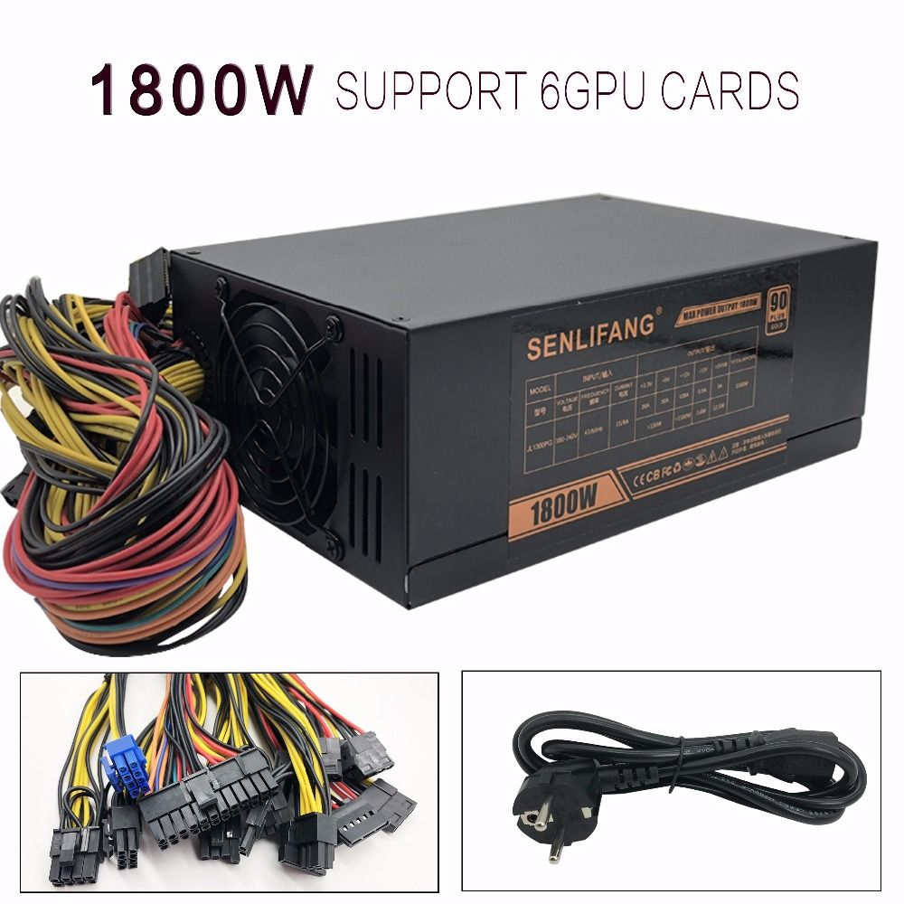 1800W Gold Switching Power Supply 6 GPU Coin 6+2PIN Sextuple Low-Noise For Mining Miner Machine