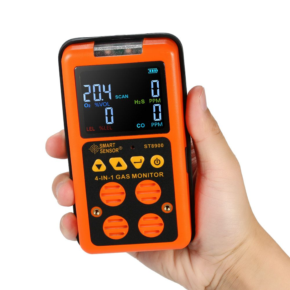 4 in 1 Gas Detector CO Monitor Carbon Monoxide Detector Hydrogen Sulfide Gas Tester LCD Display Sound+ Light Vibration Alarm US