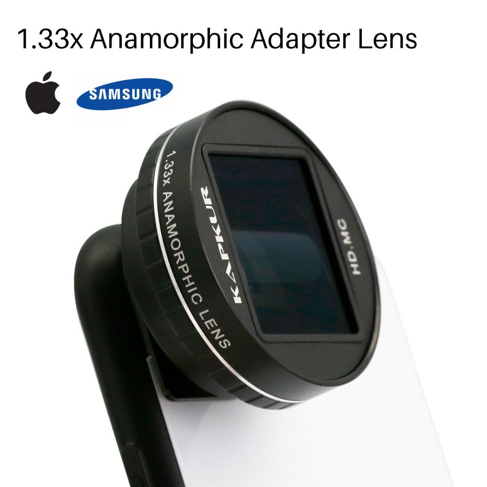 Kapkur 1.33X Anamorphic Lens for iPhone X 8 7 6 6S Plus Movie Shooting Phone Lens with Phone Case for Samsung S8 S9 Filmmaking