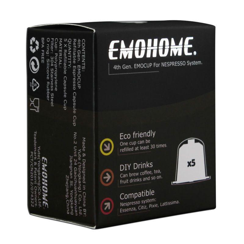 EMOHOME 5 pièces un ensemble Expresso Café rechargeable Capsules vides réutilisables pod compatibles avec les machines Nespresso Utiliser 150 fois plus
