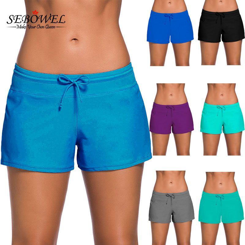 SEBOWEL 2017 Womens Bikini Swimwear Lace Up Beach Shorts Black Wide Waistband Swimsuit Bottom Shorts Female Swim Boardshort XXXL