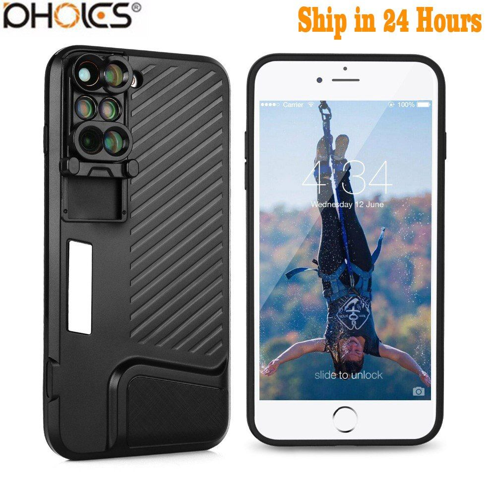 2018 8 Plus Dual Camera Lens For Apple iPhone X 8 Plus Telescope Lens Fisheye Wide Angle Macro Lens For iPhone 7 Plus Black