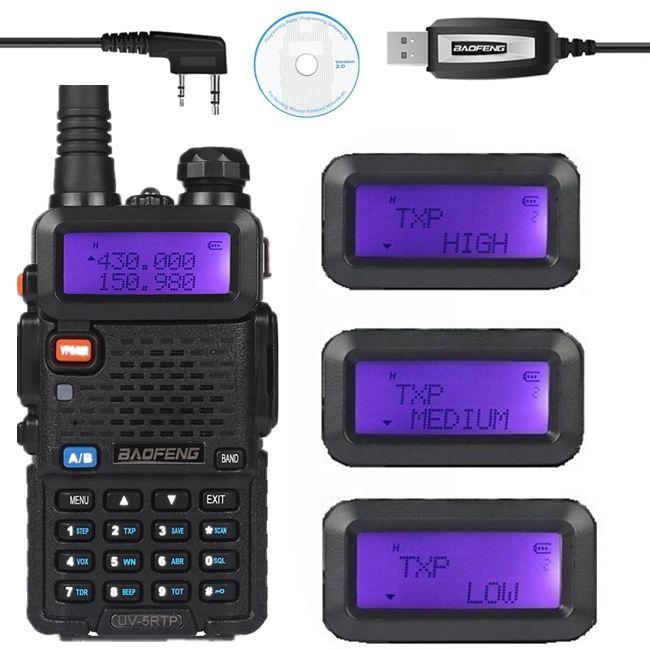 Baofeng UV-5R TP 136-174/400-520 MHz Double Bande 2 M/70 cm FM Haute Puissance 8 W Deux Way Ham Radio Émetteur-Récepteur Câble de Programmation UV-5RTP