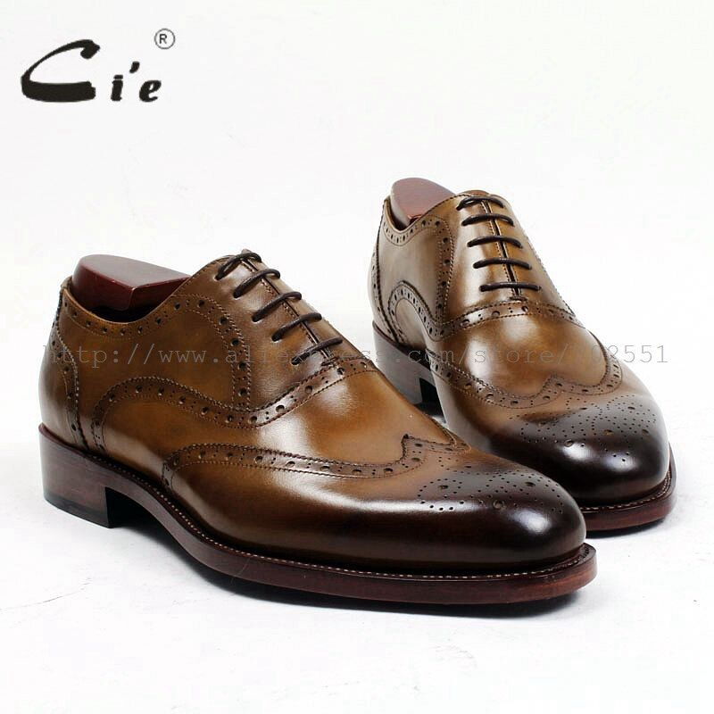 cie Free Shipping Handmade Genuine Calf Leather Men's Dress Shoe Goodyear Welted Full Brogues Business Career Brown Shoe OX477