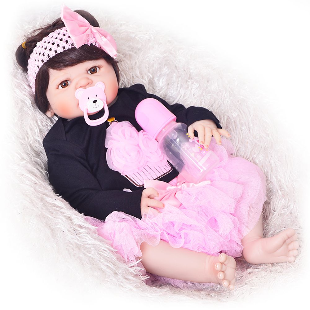 KEIUMI Lifelike 23 Inch Reborn Girl Alive Dolls Full Silicone Body 57 cm Realistic New Born Bonecas Baby Dolls For Kid Xmas Gift