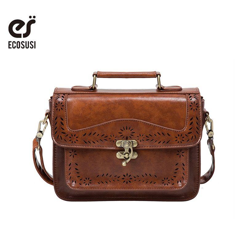 ECOSUSI Retro Women <font><b>Messenger</b></font> Bag Vintage Satchel Bags Shoulder Briefcase for Women Bolsas Femininas satchel