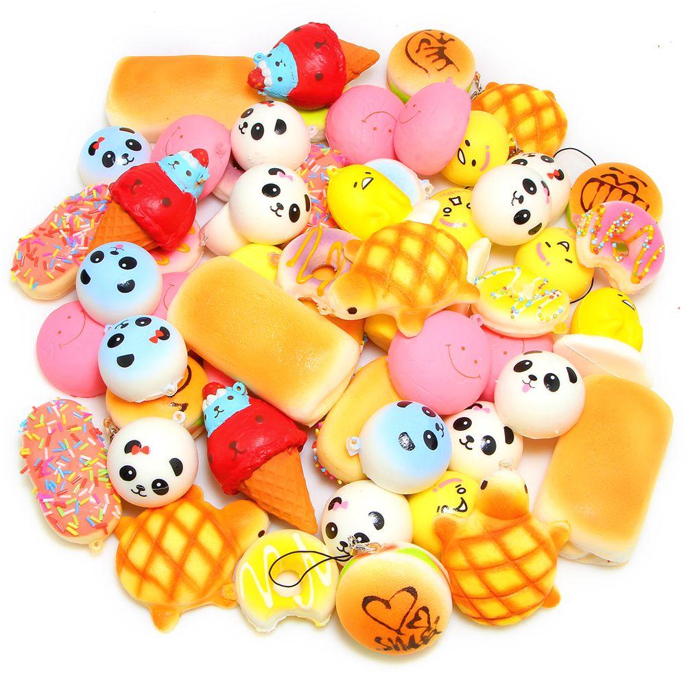 20Pcs/bag Random Squishies Toy Slow Rising Squishy Cream Scented Soft Panda/Bread/Cake/Buns Phone Straps Charm