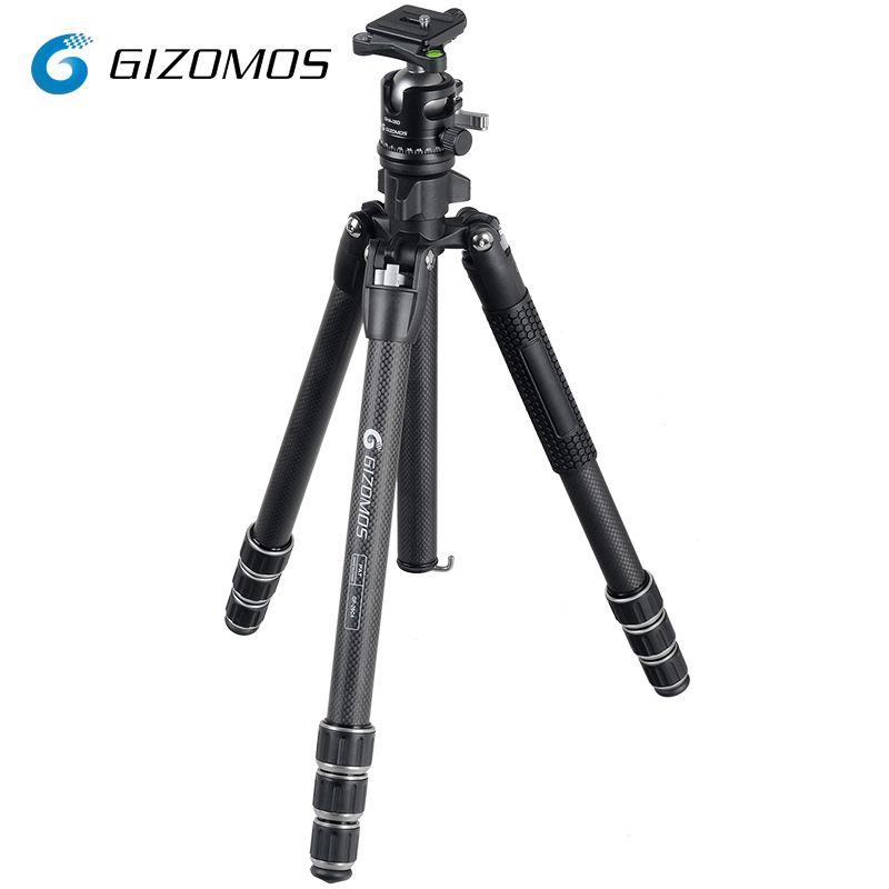 GIZOMOS GP-26C4+GHA-35D Camera Tripod Stable Folding Carbon Fiber Tripod Ball Head Kit For DSLR Digital Camera tripode para mov