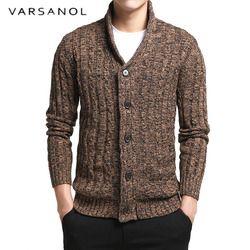 Varsnaol Merek Baru Sweater Pria V-Leher Solid Slim Fit Knitting Pria Sweater Cardigan Pria 2018 Musim Gugur Fashion Atasan Kasual Naksir