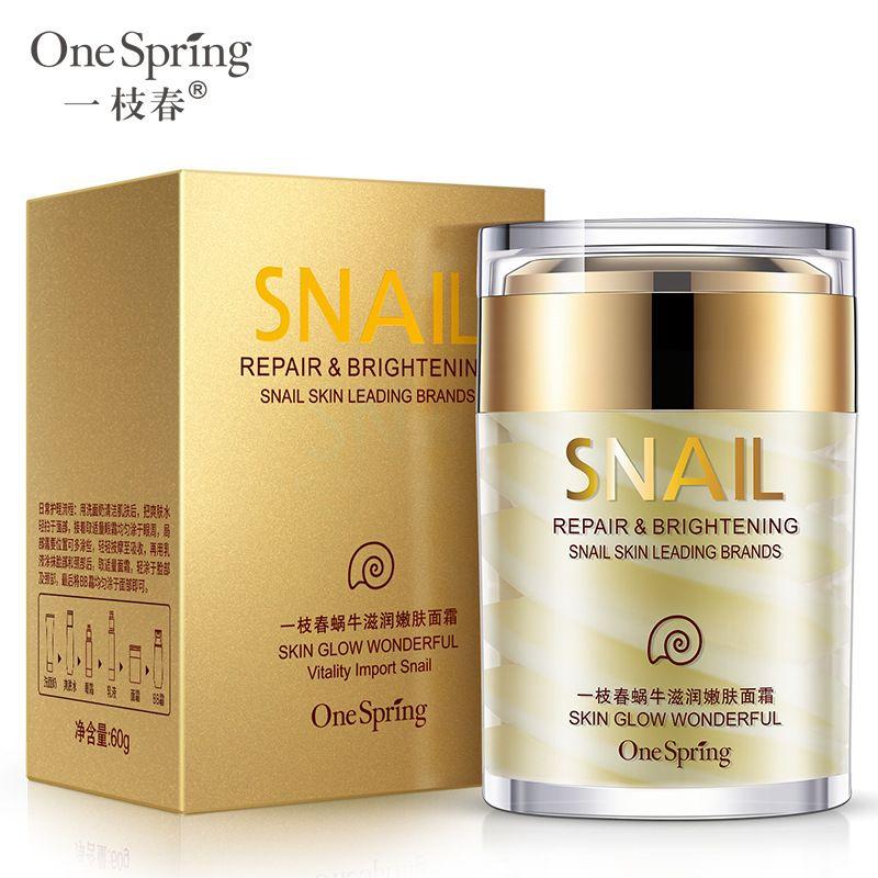 60g OneSpring Natural Snail Cream Facial Moisturizer Face Cream Whitening Ageless Anti Wrinkles Lifting Facial Firming Skin Care