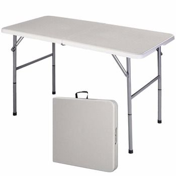 4' Table pliante Portable Intérieur Extérieur Pique-Nique Parti À Manger Tables De Camp Blanc Moderne Bureau Utilitaire Bureau Ordinateur de Bureau OP2968
