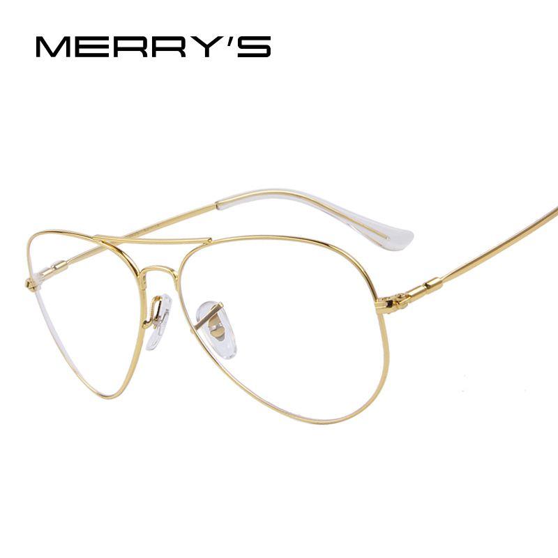 MERRYS Mode Frauen Titan Brille Rahmen Männer Marke Titan Brillen Gold Schild Rahmen Mit Brille